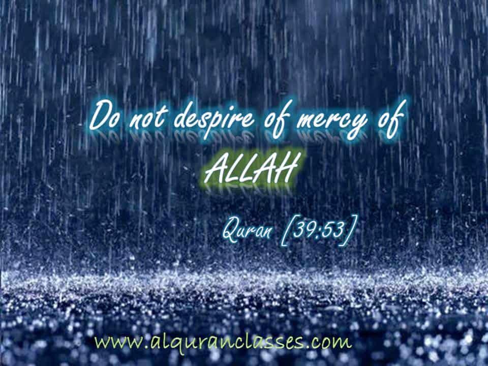 Do not despire of mercy of