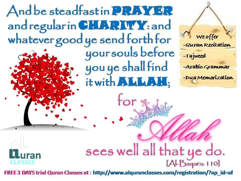 alBaqarah 110, charity in quran, charity in islam
